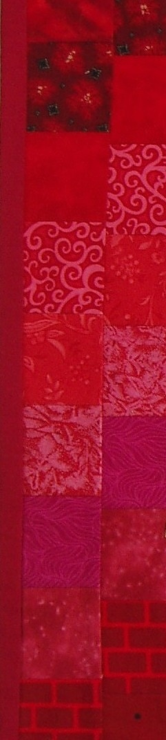 Pentcost banner, detail of red fabric