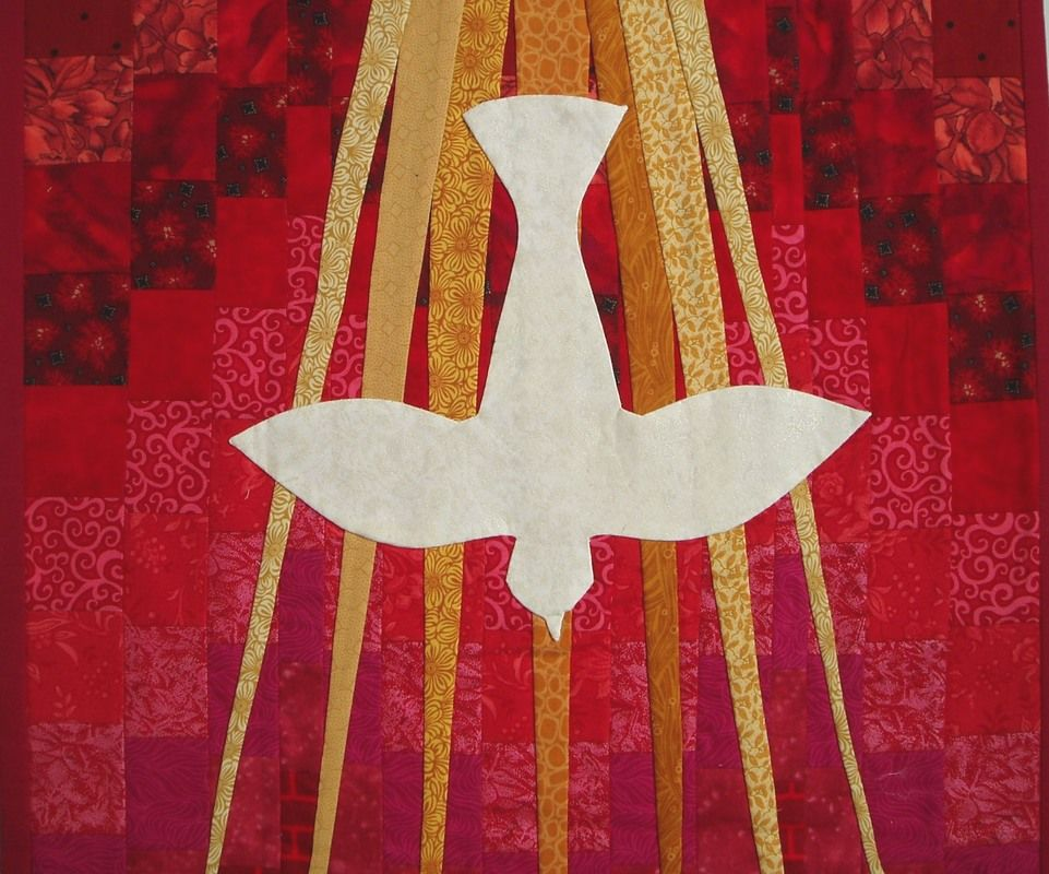 Pentecost banner, dove and rays